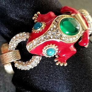 J. Crew red enamel frog bracelet crystal chain